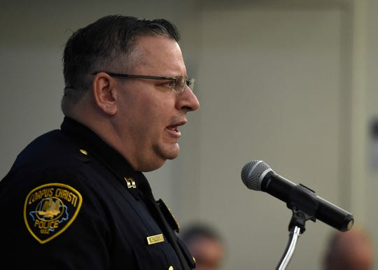 Capt. Timothy Frazier speaks during the Corpus Christi Police Department officer promotion, Friday, Jan. 31, 2020, at the Corpus Christi Police Department. Frazier was promoted to captain.