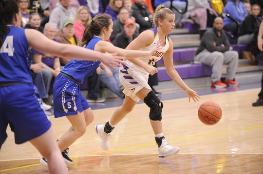 Unioto's Emily Coleman dribbles along the perimeter during a 47-37 win over Southeastern on Thursday Jan. 30, 2020 to clinch the outright SVC championship at Unioto High School in Chillicothe, Ohio.