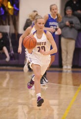 Unioto's Amber Cottrill dribbles the ball up court during a 47-37 win over Southeastern on Thursday Jan. 30, 2020 to clinch the outright SVC championship at Unioto High School in Chillicothe, Ohio.