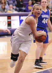 Unioto's Emily Coleman drives into the lane during a 47-37 win over Southeastern on Thursday Jan. 30, 2020 as the Shermans clinched the outright SVC championship at Unioto High School in Chillicothe, Ohio.