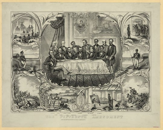 A print shows President Ulysses S. Grant signing the 15th Amendment granting that the right to vote cannot be denied on basis of race or color. The picture signals Grant's backing of the measure; presidents have no constitutional role in signing or vetoing amendments.