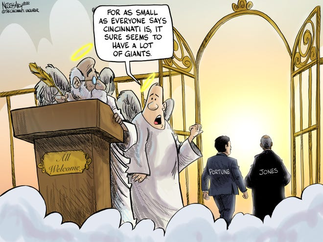 Kevin Necessary's editorial cartoon paying tribute to former Hamilton County Commissioner Todd Portune and Judge Nathaniel Jones.