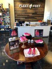 This display went up in Fleet Feet's Oakley store on Oct. 10, 2019, the launch day of the pink Nike Vaporfly Next% shoes. The shoes were sold out by Oct. 31, 2019.