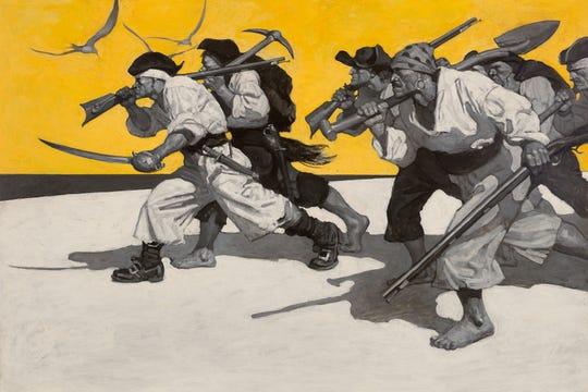 N. C. Wyeth (American, 1882–1945), Treasure Island, endpaper illustration, 1911, oil on canvas, 32 3/4 x 47 1/8 in. Brandywine River Museum of Art, purchased in memory of Hope Montgomery Scott, 1997