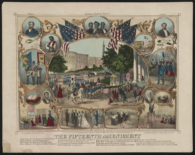 A print shows a parade surrounded by portraits and vignettes of African American life in post Civil War America, illustrating rights granted by the 15th Amendment.