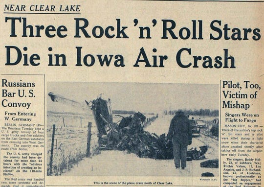 The Des Moines Tribune front page Feb. 3, 1959 details the plane crash in Clear Lake, Iowa, where Buddy Holly, Ritchie Valens and J.P. Richardson (The Big Bopper) died.