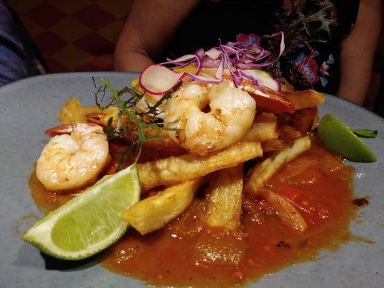 Shrimp in a Creole sauce at Casita Miramar in San Juan, Puerto Rico, on Jan. 11, 2020.