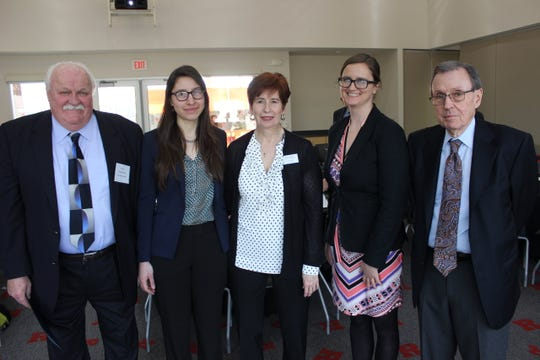 From left to right: Middlesex County Regional Chamber of Commerce Executive Board Chairman Bill Neary, Gabby Carmona of New American Economy, Middlesex County Regional Chamber of Commerce President Lina Llona,  Mo Kantner of New American Economy and James Hughes, university professor and the former Dean of the Edward J. Bloustein School of Planning and Public Policy at Rutgers.