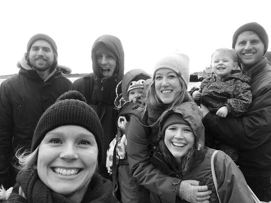 Six Iowans living in Scotland who will be caucusing. From the left: Collin & Emily Bull, Clayton Boeyink & Taylor Vander Well with their son, Milo; Hilary and Colyn Burbank with their daughter, Nell.