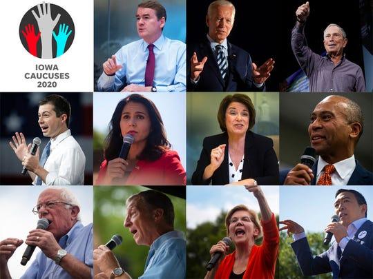 From left to right, starting at the top: U.S. Sen. Michael Bennet, former Vice President Joe Biden, former Mayor Michael Bloomberg, former Mayor Pete Buttigieg, U.S. Rep. Tulsi Gabbard, U.S. Sen. Amy Klobuchar, former Gov. Deval Patrick, U.S. Sen. Bernie Sanders, Tom Steyer, U.S. Sen. Elizabeth Warren, and Andrew Yang.