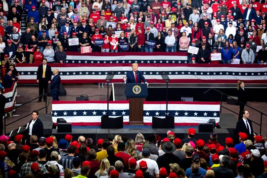 President Donald Trump speaks to the crowd during a campaign rally on Thursday, Jan. 30, 2020, at the Knapp Center in Des Moines.