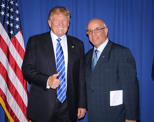 President Donald Trump with Joseph Kassab, founder and president of the Iraqi Christians Advocacy and Empowerment  Institute in West Bloomfield, on Sept. 30, 2016, in Novi, Michigan. Kassab was one of about 15 Middle Eastern leaders who met with Trump before a rally, said community leaders.