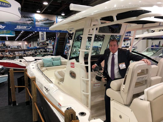 Pete Beauregard of Colony Marine at the Detroit Boat Show.