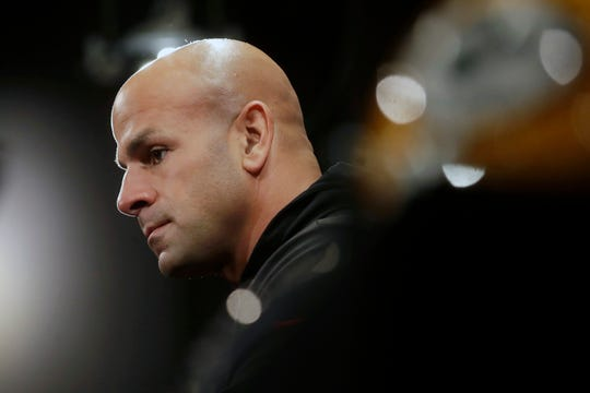 San Francisco 49ers defensive coordinator Robert Saleh speaks at a news conference at the team's NFL football training facility in Santa Clara, Calif., Thursday, Jan. 16, 2020. The 49ers are scheduled to host the Green Bay Packers in the NFC Championship game Sunday.