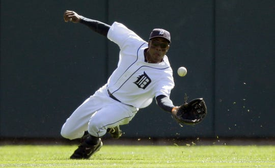 Detroit Tigers CF Curtis Granderson makes a running catch on October 1, 2009.