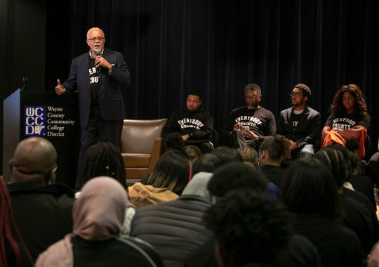 Wayne County Executive Warren Evans speaks during a census rally that was held for hundreds of metro Detroit high school students at the Wayne County Community College in Detroit Friday, Jan. 31, 2020.