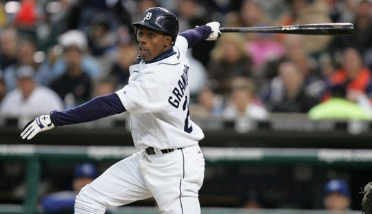 Detroit Tigers' Curtis Granderson gets a hit against Jason Standridge for Kansas City during second inning action April 16, 2007 at Comerica Park.