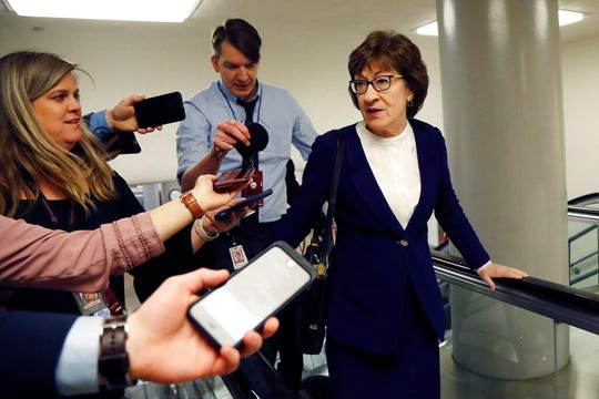 Sen. Susan Collins, R-Maine, arrives at the U.S. Capitol in Washington, Friday, Jan. 31, 2020, during the impeachment trial of President Donald Trump.