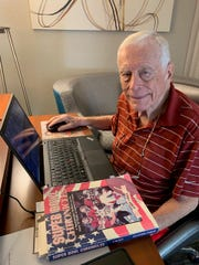 Longtime Detroit News reporter Jerry Green, 91, seen here writing Super Bowl LIV preview stories on his laptop computer, Thursday, Jan. 30, 2020 in Miami, just three days before covering his 54th Super Bowl game. Green is the only reporter to cover every Super Bowl.