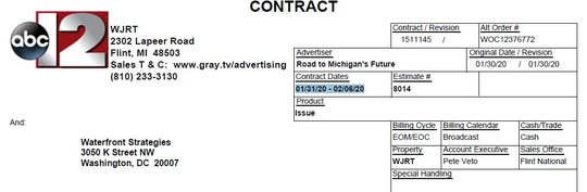 A contract disclosed by WJRT, a Flint TV station, shows Road to Michigan's Future purchasing ads that could begin airing as early as Friday.