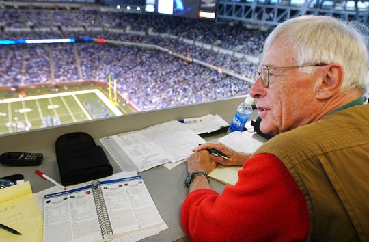 Jerry Green watches fourth-quarter action of the Lions' 28-16 win over the Houston Texans from his seat in the press box at Ford Field on Sept. 19, 2004.