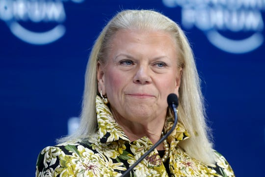 FILE - In this Tuesday, Jan. 21, 2020 file photo, Ginni Rometty, President and CEO of IBM, attends a panel discussion at the World Economic Forum in Davos, Switzerland.