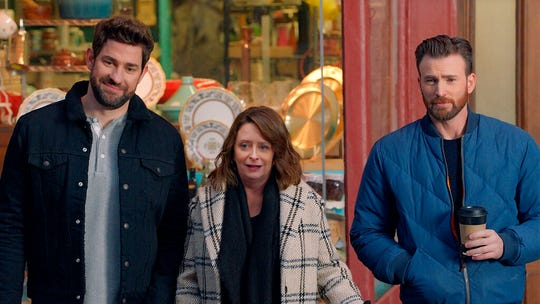 This undated image provided by Hyundai Motor America shows from left John Krasinski, Rachel Dratch and Chris Evans in a scene from the company's 2020 Super Bowl NFL football spot. The automaker pokes fun at Boston accents with a 60-second ad in the second quarter.