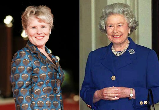 """Actress Imelda Staunton on the red carpet for the movie """"Downton Abbey"""" at the Rome Film Fest in Rome on Oct. 19, 2019, left, and Britain's Queen Elizabeth II at Buckingham Palace in London on May 17, 1996. Staunton has been tapped to be the last actress to play the British monarch in the Netflix series """"The Crown."""" She will take the crown in the fifth and final season of the series."""