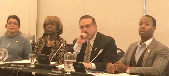 From left, Wayne State University board members Sandra Hughes O'Brien, Shirley Stancato, Michael Busuito and Bryan Barnhill II listen during a meeting  Friday, Jan. 31, 2020.