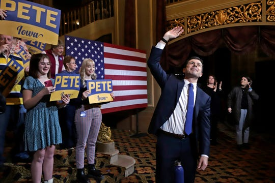 Democratic presidential candidate former South Bend, Ind., Mayor Pete Buttigieg, waves at the conclusion of a town hall meeting at the Orpheum Theatre in Sioux City, Iowa, Friday, Jan. 31, 2020.