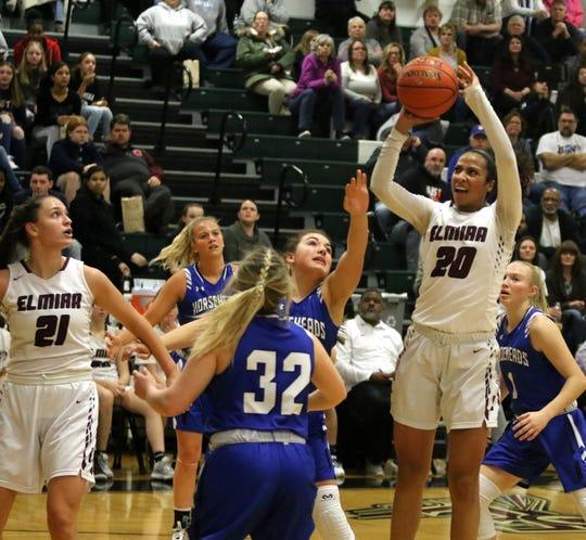 Zaria DeMember-Shazer of Elmira takes a jump shot in a 66-45 win over Horseheads in girls basketball Jan. 30, 2020 at Elmira High School.