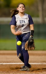 Maggie Harding pitches for Elmira Free Academy in 2011.