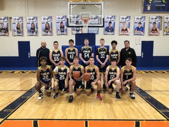 The Day School basketball team will play at Bankers Life Fieldhouse on Saturday. Front row: Dylan Kanetkar, Shane Hart, Brant Wilsey, Tyler Myers, Grant Bivins and Brock Wilsey. Back row: Coach Braun, Reid Staubitz, Drew Phillips, William Foster, Brandon Foster, Hamza Rimawi and coach Wilsey. Not pictured: Aidan Kunst.