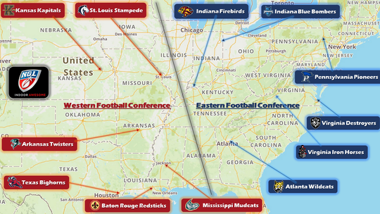 National Gridiron League map