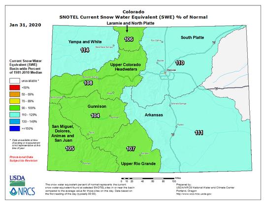 Colorado snowpack map