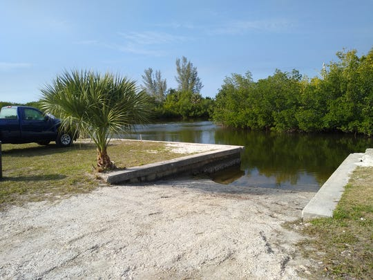 One of two boat ramps near the property occupied by D & D Matlacha Bait and Tackle on Pine Island Road near the entrance to Matlacha. The property is grandfathered for 64 boat slips under Manatee Protection rules set by Lee County. The land is owned by Cape Coral but is located outside city limits