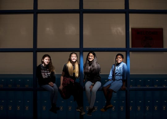 From left, Dunbar Middle School students Peyton Sidwell, 11; Meadow Stanley, 14; Jaansi Parsa, 13; and Ziya Chambers, 11, were winners in the Florida Commission on the Status of Women's 2020 Women's History Essay. They will be honored at Monday's city council meeting and they were invited to Tallahassee for a celebration luncheon Feb. 6 honoring their essays during the Legislative Education Summit.