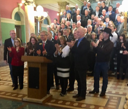 Montana Republicans hold a rally for the 2020 elections Friday in the rotunda of the state Capitol.