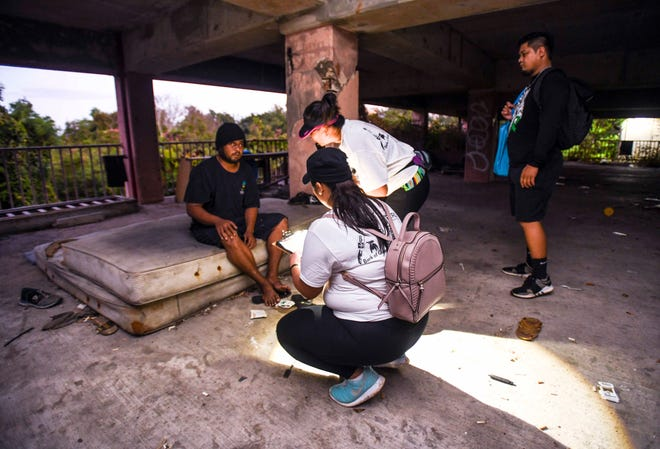 Homeless man Amsy Sam, 30, is interviewed by volunteer enumerators after being found in an abandoned parking structure in Tumon during the Point-In-Time Homeless Count in this Jan. 31, 2020, file photo. The Guam Homeless Coalition won't be counting unsheltered homeless this year.