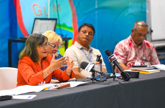 Linda Denorcey, left, Guam Department of Public Health and Social Services director, offers an update of the government's measures and future plans in addressing with the threat of the coronavirus to the island and the region, as she speaks with journalists at the Guam Homeland Security and Office of Civil Defense in Agana Heights on Jan. 31, 2020. An emergency briefing was held with GovGuam officials, island leaders and other key personnel to address the virus which has been labelled as a global health emergency by the World Health Organization.