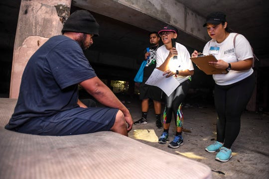 Amsy Sam, 30, is interviewed by volunteers after being found in an abandoned parking structure in Tumon during the Point-In-Time Homeless Count in this Jan. 31 file photo. COVID-19 testing for Guam's street homeless population will be heldMay 26-29