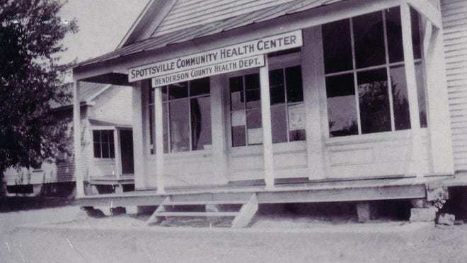 A late 1940s view of the Spottsville Community Health Center, which was run by nurse Jane Cole. She  provided care for children in Henderson County for 32 years. The first effort to create a health department in Henderson County failed in 1920, as well as several more times before it finally opened June 1, 1927.