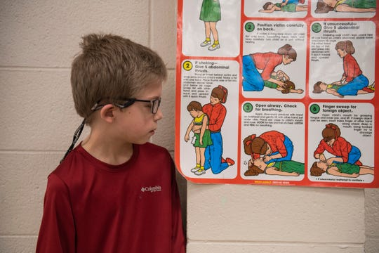 Timothy Prather, 9, saved his cousin Conner Harmon, 3, from choking on a lifesaver hard candy by giving him the Heimlich. He learned how to do that from a poster he saw from school in the lunchroom at Ramer Elementary in Ramer, TN., Friday, January 31, 2020.