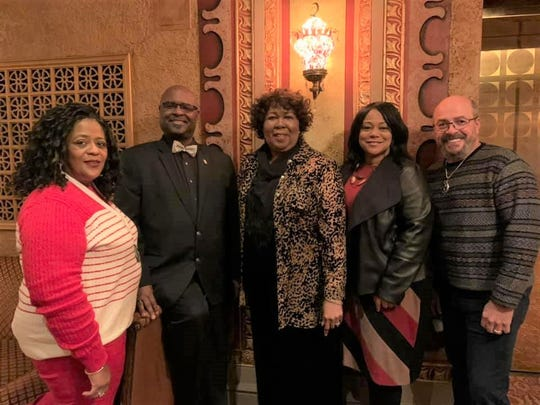 Kim Kearney, Jeanie Melton, Lynn Wright and Eddie Rivera are proud of their Knoxville Opera Gospel Choir colleague, Michael Rodgers. Jan. 19, 2020.