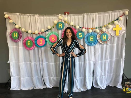 Anna Kate Reichter dresses up for Easter at Grace Baptist Church Sunday, April 21, 2019.