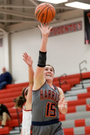 Harrison's Anna Henderson (15) goes up for a layup during the first quarter of an IHSAA girls basketball game, Thursday, Jan. 30, 2020 in West Lafayette.