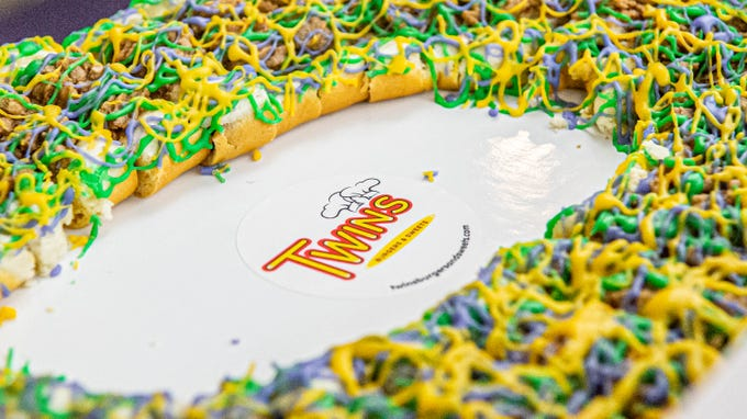 Twin's Burgers and Sweets also has boudin king cake, though the local restaurant brought other variations to the King Cake Tasting Extravaganza, hosted by the Daily Advertiser on Thursday, Jan. 30, 2020.