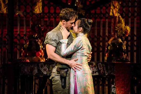 """Anthony Festa as """"Chris"""" and Emily Bautista as """"Kim"""" in the North American Tour of Miss Saigon singing """"Last Night of the World."""""""