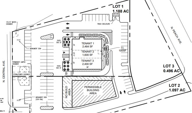A preliminary site plans show a possible new development in Marshfield that could bring new dining options to the area. The City Council approved a permit for outdoor dining patios at the site on Jan. 28, 2020.