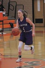 Lexington High School's Emma Sturts brings the ball up court against Ashland High School during high school girls basketball action Thursday, Jan. 30, 2020 at Ashland High School.
